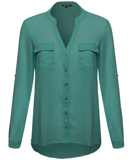 Women's Sheer Button Up Henley Neck Blouse Top