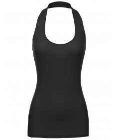Women's Basic Fitted Ribber Halter Tank