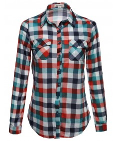 Women's Basic Classic Lightweight Collar Plaid Button Down Shirt