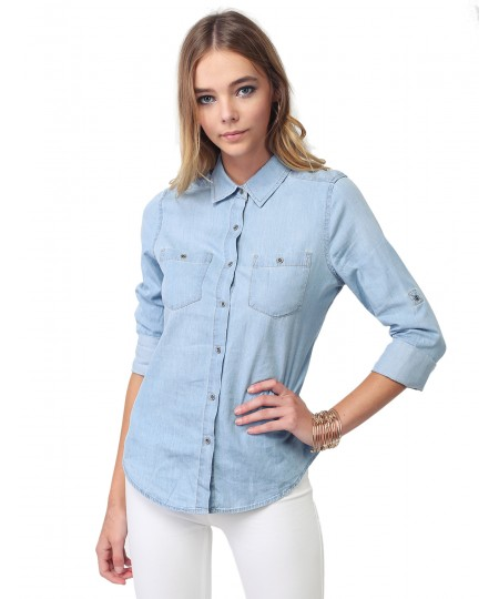Women's Basic Classic Button Closure Roll Up Sleeves Chest Pocket Denim Chambray