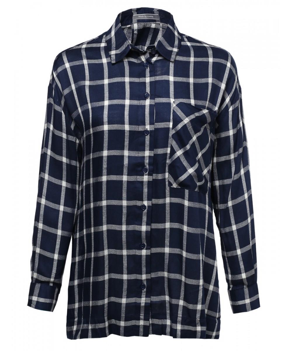 Women 39 s classic oversized plaid button up shirt for Oversized plaid shirt womens