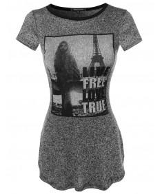 Women's Graphic Light Weight Knit Short Sleeve Long Shirt2