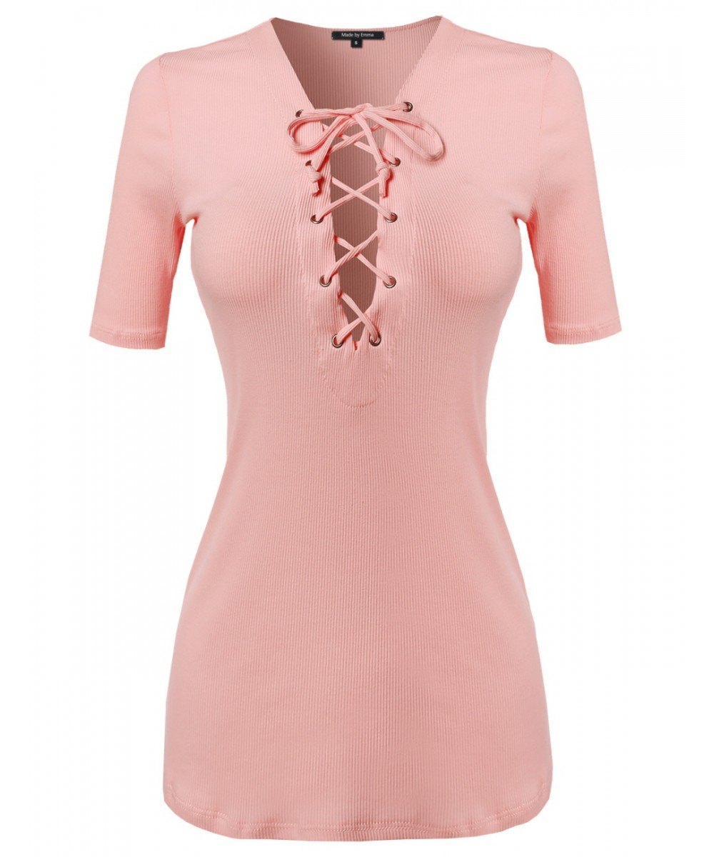d7fb432723 Women s Eyelet Lace Up Ribbed Short Sleeve Top - FashionOutfit.com