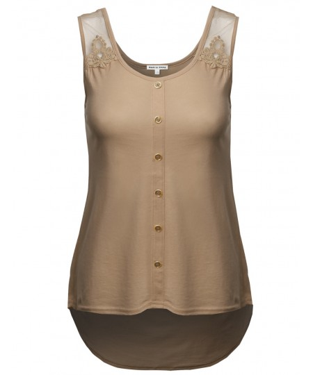 Women's Soft Stretch Lace Contrast Tank Top