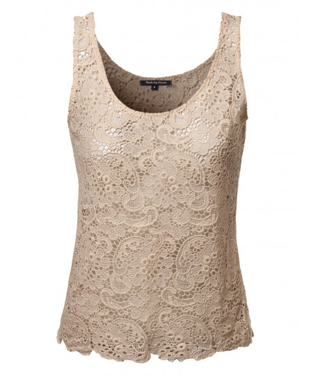 Women's Crochet Lace Sleeveless Top