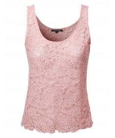 Women's Crochet Lace Sleeveless Top