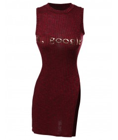 Women's Sleeveless Muscle Tank Rib Side Slit Dress Top