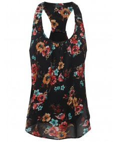 Women's Floral Scoop Neck Racerback Cami Tank