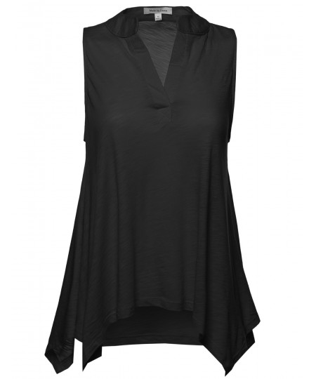 Women's Classic Soft Sleeveless Henley Tunic Top