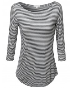 Women's Stripe Boatneck 3/4 Sleeeve Tee