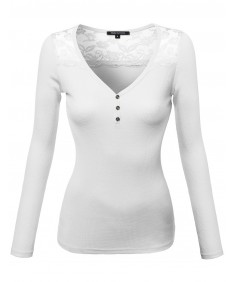 Women's Basic Henley Long Sleeves Thermal Lace Top
