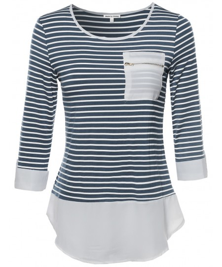 Women's Contemporary Chic Round Neck Stripe Top Rolled Up Sleeves