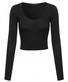 Women's Basic Every Day Scoop Neck Long Sleeve Crop Top
