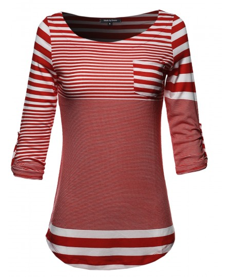 Women's 3/4 Sleeve Contemporary Stripe Boatneck Top W/ Front Pocket