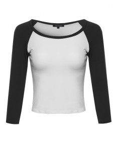 Women's Raglan 3/4 Sleeve Crop Top