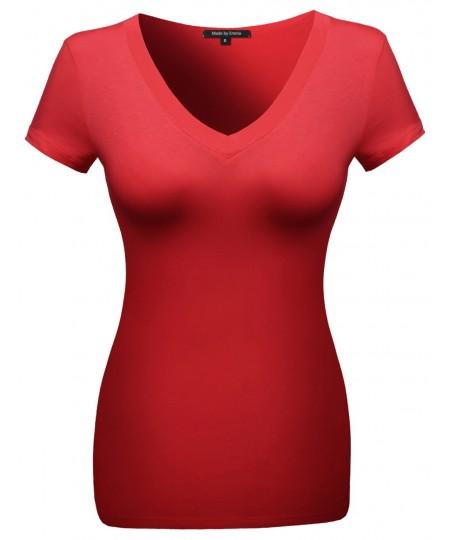 Women's Basic Solid Vneck Various Color Short Sleeve