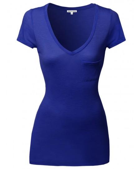 Women's Super Strech Softrayon Spandex Long V-Neck Short Sleeve Tops