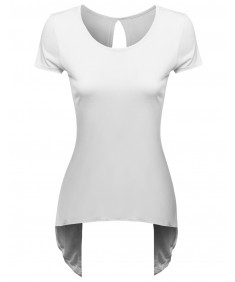 Women's Back Opened High&Low Short Sleeve Top
