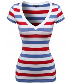 Women's Wide V-Neck Stripe Short Sleeve Tee Shirts