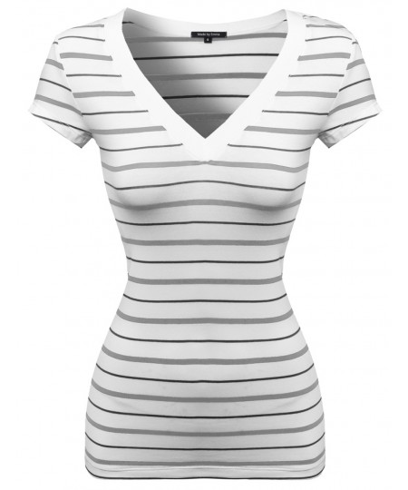 Women's Wide V-Neck Stripe Short Sleeve Tee Shirts2