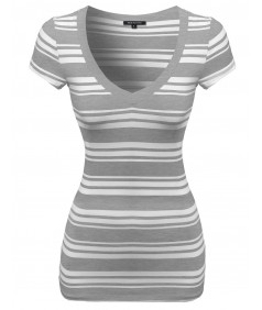 Women's Wide V-Neck Stripe Short Sleeve Tee Shirts3