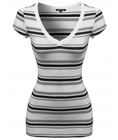 Women's Wide V-Neck Stripe Short Sleeve Tee Shirts4