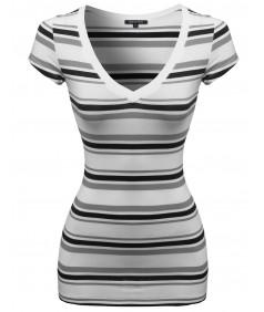 Women's Wide V-Neck Stripe Short Sleeve Tee Shirts4