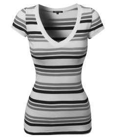 Women's Wide V-Neck Stripe Short Sleeve Tee Shirts5