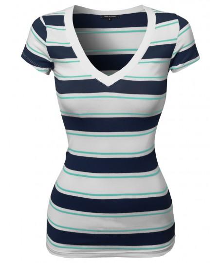 Women's Wide V-Neck Stripe Short Sleeve Tee Shirts6