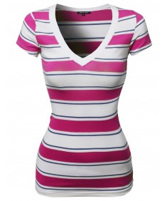 Women's Wide V-Neck Stripe Short Sleeve Tee Shirts6