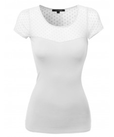 Women's Lace Contrast Stretchy Casual Top
