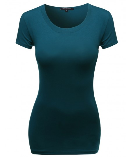 Women's Basic Solid Scoop Neck Various Color Short Sleeve