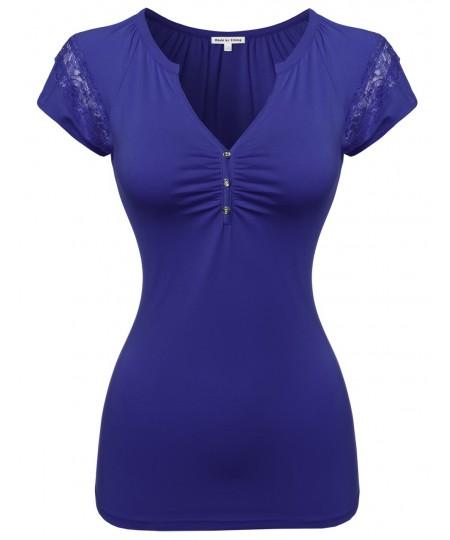 Women's Cute Detail Casual Cap Sleeve Tee Shirt3
