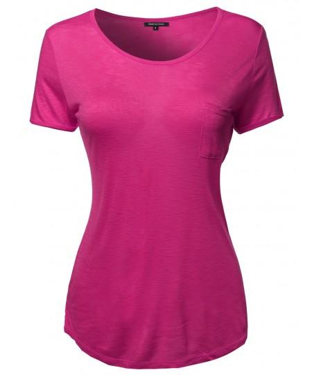 Women's Solid Cap Sleeve Crew Neck Tee Shirt In Various Colors