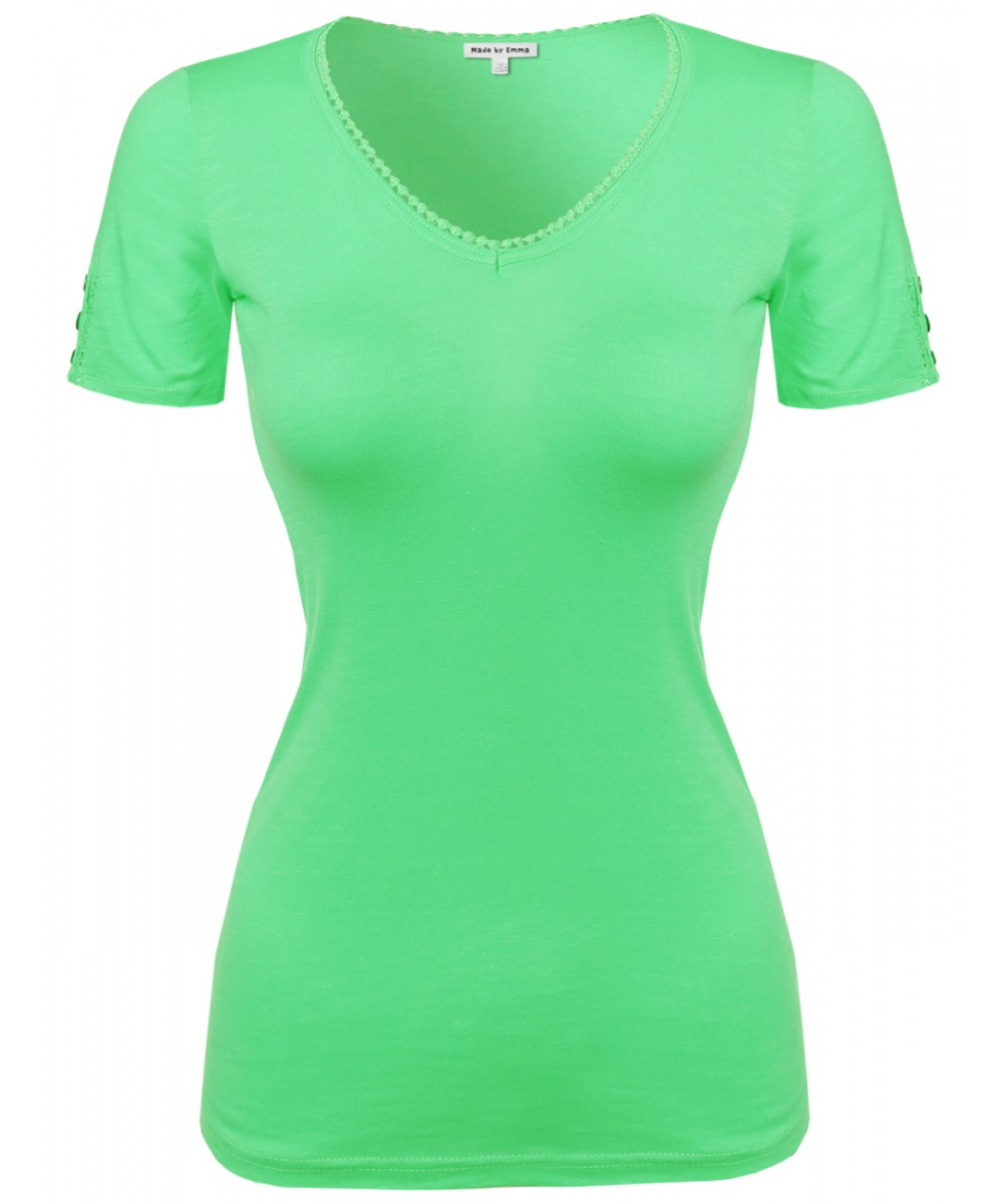 Women 39 s solid cap sleeve v neck tee shirt in various for Plain colored v neck t shirts