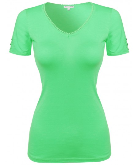 Women's Solid Cap Sleeve V Neck Tee Shirt In Various Colors