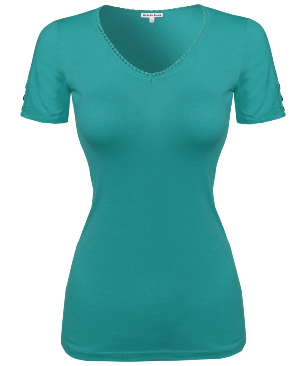 Women 39 S Solid Cap Sleeve V Neck Tee Shirt In Various