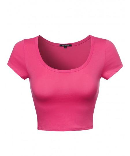 Women's Solid Short Sleeve Crop Top