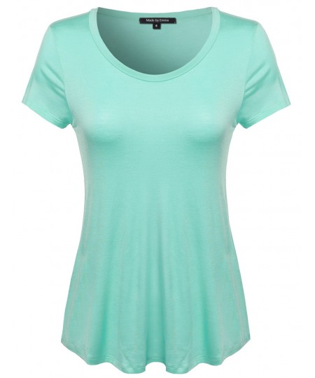 Women's Basic Short Sleeve Rayon Scoop Neck Tee