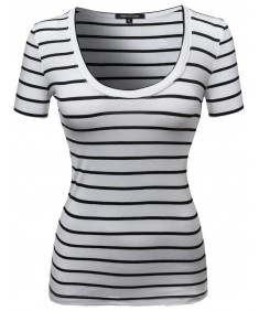 Women's Contemporary Broad Basic Stripe Pattern Tee