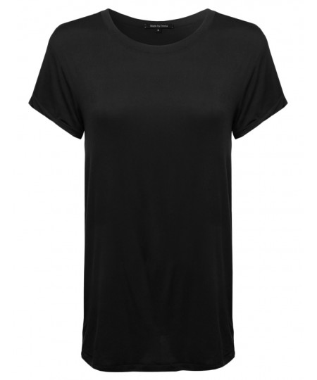 Women's Classic and Basic Short Sleeve Soft and Stretchy Roundneck Tee