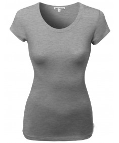 Women's Basic Solid Cotton Based Crew Neck Cap Sleeves Tee