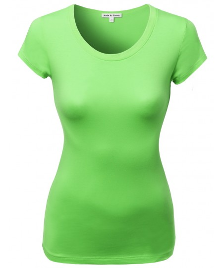 Women's Basic Solid Cotton Based Crew Neck Cap Sleeves Tee