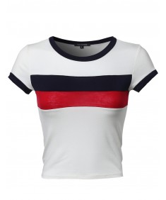 Women's Short Sleeve Color Block Crop Top