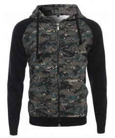 Men's Long Sleeve Military Raglan Zip Up Hoodie with Pocket