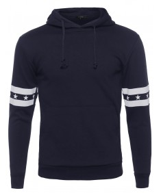 Men's Long Sleeve Hoodie with Stars and Stripe