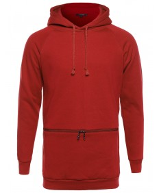 Men's Basic Hoodie with Front Horizontal Zipper Pocket