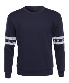 Men's Long Sleeve Crewneck Sweater with Stars and Stripe