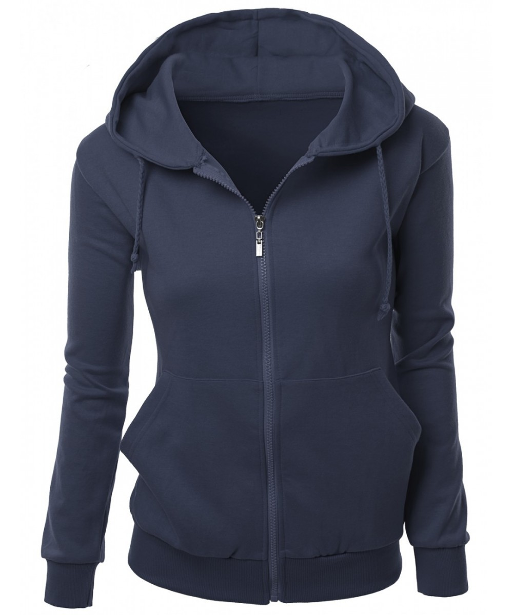 Basic Hoodie zip up sweater with Side Kangaroo front pockets ...