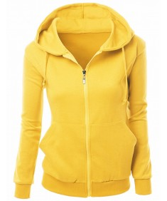 Women's Basic Hoodie Zip Up Sweater With Side Kangaroo Front Pockets